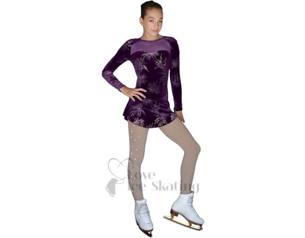 Ice Skating Chloe Noel Purple Sparkle Skating Dress Adult Extra Small Skating Dresses-girls