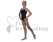 Chloe Noel Leotard GL317 Black with Contrast Straps in White