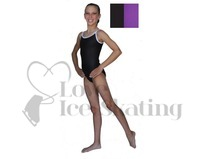 Chloe Noel Leotard GL317 Black with Contrast Straps in Purple