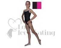 Chloe Noel Leotard GL317 Black with Contrast Straps in Fuchsia