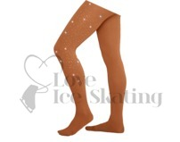 Chloe Noel Ice Skating Tights In Boot Medium Tan with AB Crystal Spray Down One Leg