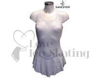 Sagester Figure Skating Dress White with Swarovski AB Crystals
