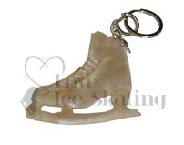 Cream Fur Ice Skating Figure Skate Keyring