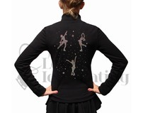 Chloe Noel J11 Polar Fleece Ice Skating Black Jacket with Rhinestone Skaters