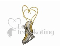 Iron on Ice Skates with Heart Laces Embroidered Patch