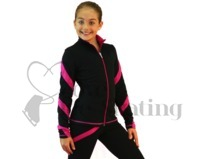 Figure Skating Jacket J36 Black with Fuchsia Spirals by Chloe Noel