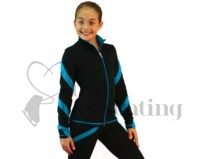 Figure Skating Jacket J36 Black with Turquoise Spiral by Chloe Noel