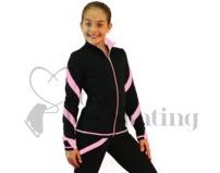 Figure Skating Jacket J36 Black with Pink Spiral by Chloe Noel