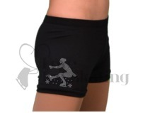 Ice Skating Shorts Black with Rhinestone Sit Spin Figure skater