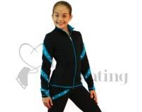Ice Skating Jacket J36 Black & Turquoise Spirals w Swarovski Crystals