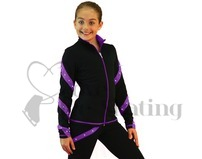 Ice Skating Jacket J36 Black & Purple Spirals with Swarovski Crystals