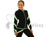 Ice Skating Jacket J36 Black w Light Green Spirals with Swarovski Crystals