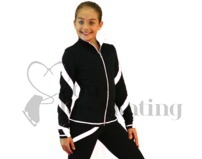 Ice Skating Jacket J36 Black w White Spirals with Swarovski Crystals