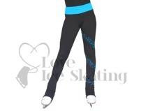 Chloe Noel PS96 Ice Skating Leggings with Turquoise Crystal Spiral