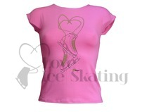 Intermezzo Pink Ice Skate T-Shirt with Rhinestones