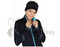 Chloe Noel Black Polar Fleece Headband with Cyrstals