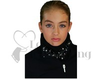 Chloe Noel Black Polar Fleece Circular Scarf with Crystals
