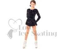 Black Ice Skating Dress with Silver Glitter Flowers by Mondor