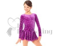 Velvet Purple Figure Ice Skating Dress with Glitter Dragonflys by Mondor