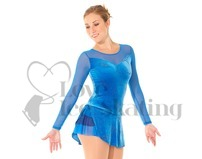 Blue Velvet & Mesh Ice Skating Dress Glitter Floral Design by Mondor