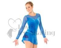 Blue Velvet & Mesh Ice Skating Dress Glitter Floral Design by Mondor