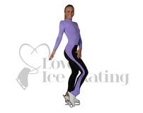 Jiv Girls Ice Skating Practice Training Leggings Lavender/Black