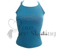 Sagester 019 Turquoise Blue Camisole Ice Figure Skating Top with Rhinestone Crystals