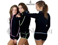 Sagester 425 Ice Skating Shorts with Green Lurex Metallic Trim