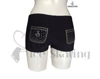 Black Ice Skating Swarovski Crystals Pocket Shorts by Sagester 448