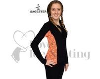 Sagester 261 Ice Skating Jacket with Orange Lace Insert & Swarovski Crystals