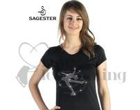 Sagester 044 Black Ice Skating Top Layback Crystal Skater