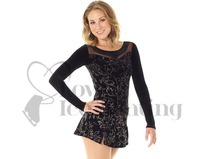 Mondor Ice Skating Dress Black with Gold Floral Design