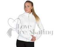 Ladies White Quilted Jacquard Ice Skating Warm up Jacket