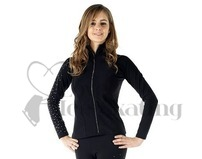Sagester Black Ice Skating Jacket with Swarovski Crystals on Arm & Zip
