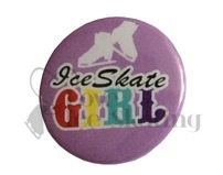 Ice Skate girl rainbow on lilac badge