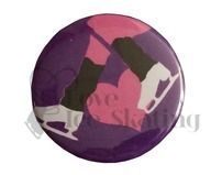 Ice Skates Pink Heart on Purple Badge