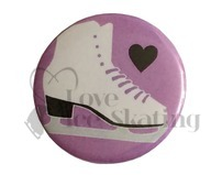 Ice Skate Black Heart on Lilac Badge