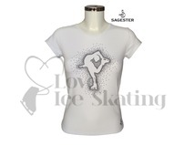 Sagester White Ice Skating Top T-Shirt Catch Foot