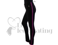 Sagester 424 Ice Skating Leggings Black with Fuchsia Metallic Trim