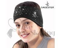 Sagester Black Figure Skating Headband with Swarovski Crystals