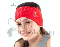 Sagester Red Figure Skating Headband with Swarovski Crystals
