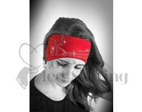 Sagester Red Figure Skating Layback Headband in Swarovski Crystals