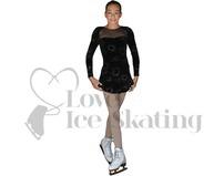 Black Glitter Ice figure Skating A Line Dress by Chloe Noel Style DLV675