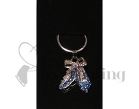 Ice Skates Blue & AB Crystal Pendant Necklace