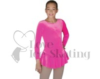 Chloe Noel Folly Pink Velvet Ice Figure Skating Dress DLV627 FP