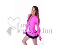 Thuono Neon Pink Hello Thermal Ice Skating Dress with Crystal Zipper