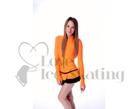 Thuono Neon Orange Hello Thermal Ice Skating Dress with Crystal Zipper