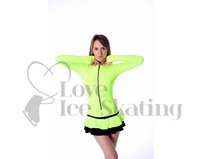 Thuono Neon Yellow Hello Thermal Ice Skating Dress with Crystal Zipper