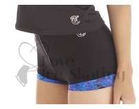 Thuono Thermal Ice Skating Shorts with Crystal Zip Glitter Explosion Blue