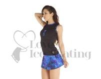 Thuono A-Line Figure Skating Skirt Glitter Explosion Blue